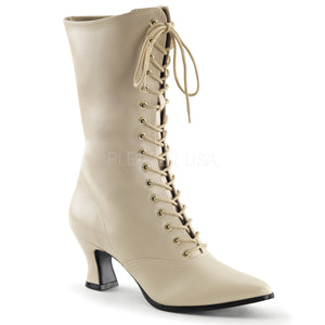 cream faux leather lace-up ankle boots 2.75-inch heels Victorian-120
