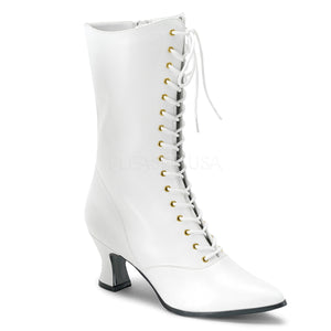 white faux leather lace-up ankle boots 2.75-inch heels Victorian-120