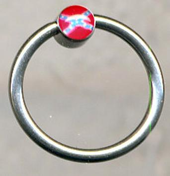 Rebel Flag Circle Hoop Body Jewelry