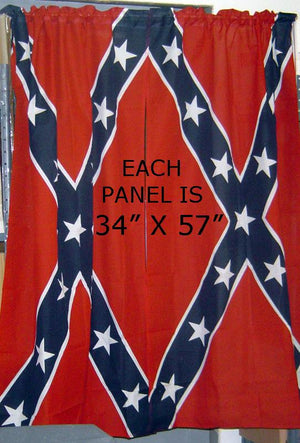 Rebel Flag 34x57-inch Curtains, One Pair of Confederate Curtains