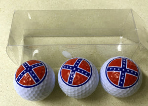3-pack of regulation Rebel flag golf balls