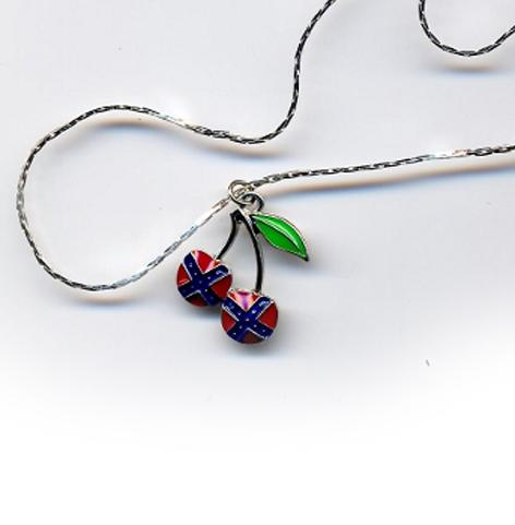 WC-RCPN Rebel Flag Cherry Pendant Necklace