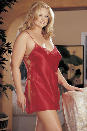 red plus size charmeuse and lace chemise X20015