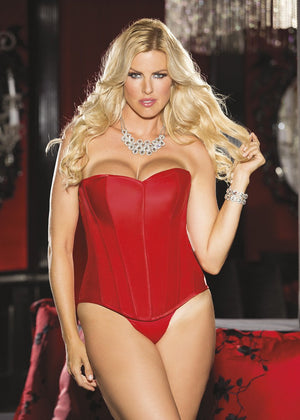 plus size heavy red satin corset with lace-up back X31044