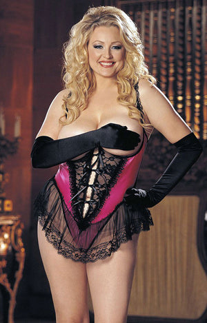 black pink plus size satin and lace open bust crotchless teddy X3900