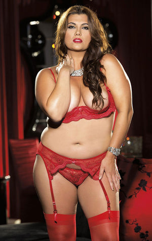 red Plus size scalloped embroidery lace demi-cup shelf bra X331