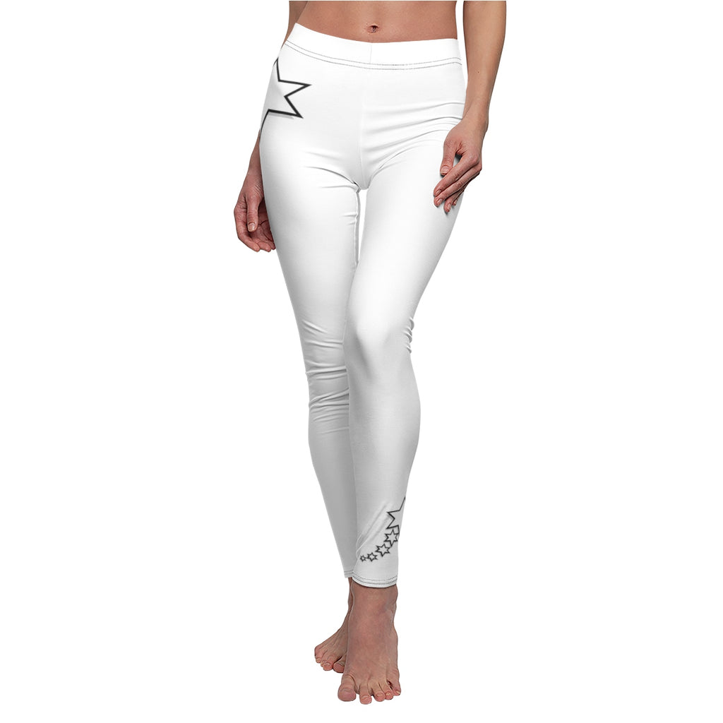 Women's Cut & Sew Casual Leggings - 6 Points 5 Stars (White)