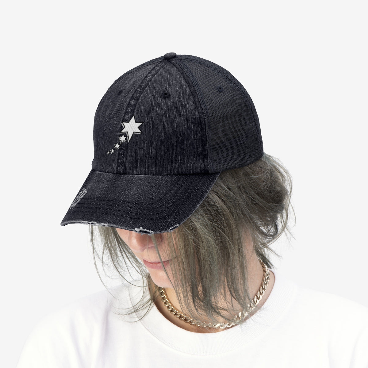 Unisex Trucker Hat - 6 Points 5 Stars (White)