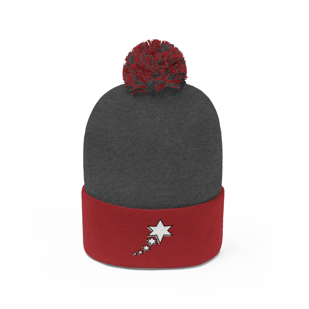 Pom Pom Beanie - 6 Points 5 Stars (White)