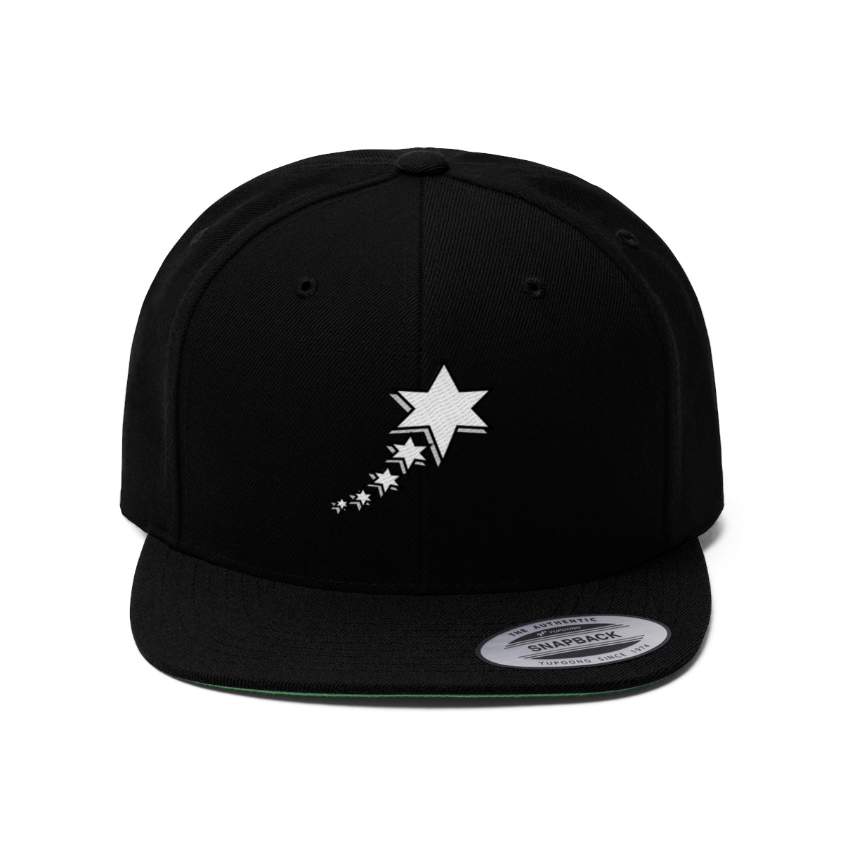 Unisex Flat Bill Hat - White 6 point 5 stars (White)