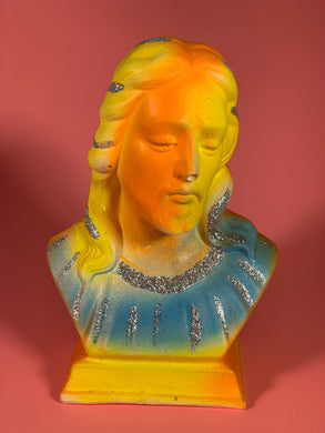Chalkware Jesus orange/yellow/blue