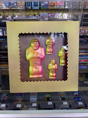 Boxed Chalkware Wall Hanging Set: Yellow and Pink Apes