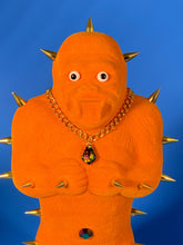 Load image into Gallery viewer, Orange Flocked Ape with Gold Spikes and Fancy Necklace