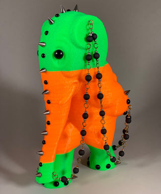 Fluorescent Green and Orange Elephant with Black Beaded Chain