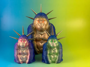 Sitting Apes: Blue Glitter and Silver Fluorescents