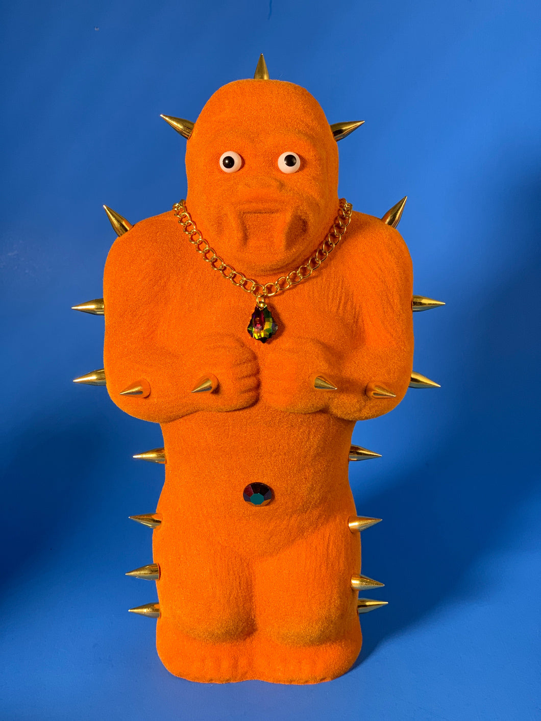 Orange Flocked Ape with Gold Spikes and Fancy Necklace