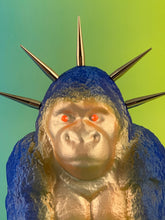 Load image into Gallery viewer, Sitting Apes: Blue Glitter and Silver Fluorescents