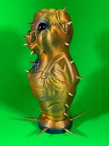 Iridescent Pig with Spikes and Big, Black Eyes
