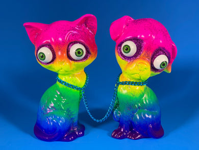 Rainbow Sad Dog/Sad Cat with Purple Glitter