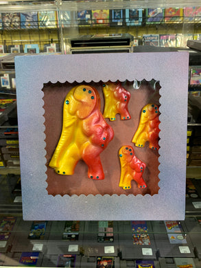 Boxed Chalkware Wall Hanging Set: Yellow and Red Elephants