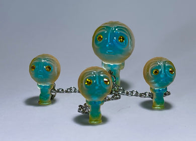 Moon Head Giant Head Freak: Tiny Chained Set, Blue/Copper