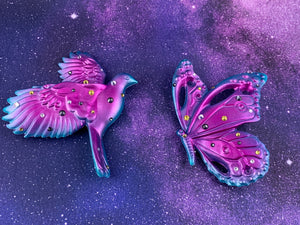 Butterfly and Bird Wall Plaques: Turquoise/Pink