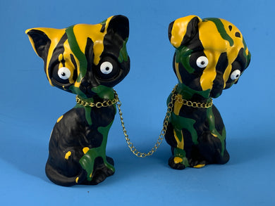 Sad Dog/Sad Cat: Yellow and Green with Black