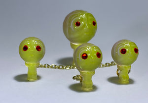 Moon Head Giant Head Freak: Tiny Chained Set, Green/Purple