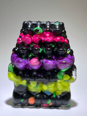 Crocodile Ape Cult: 16 Headed, Resin Cast with Black and Neon Stones
