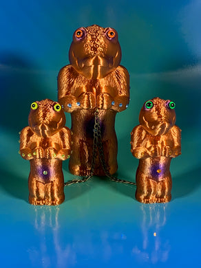 Copper and Purple Croc Head Ape Cult Set