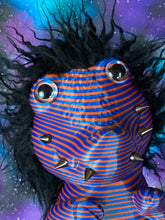Load image into Gallery viewer, Crocodile Head Twisty Pig: Orange and Blue Glitter
