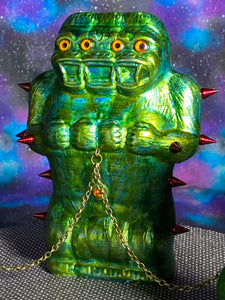 Freak of Nature 3 Headed Ape with 2 Crocodile Headed Pigs: Glitter Green