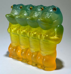 Crocodile Ape Cult, 4 Headed: green/yellow/orange