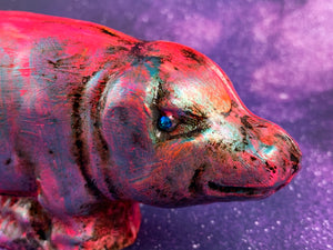 Chalkware Pig: Neon Pink and Metallic Blue