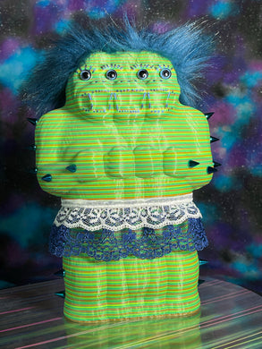 Freak of Nature 3 Headed Ape: Very Handsome Frilly Doll, green/yellow/orange/blue