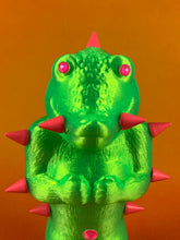Load image into Gallery viewer, Mini Croc Headed Ape: Florescent Green with Pink Spikes