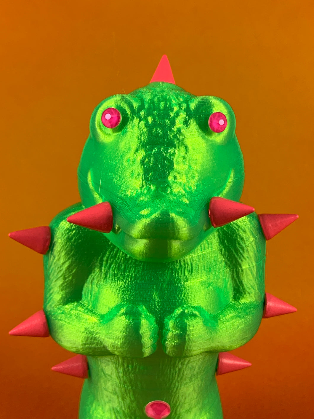 Mini Croc Headed Ape: Florescent Green with Pink Spikes