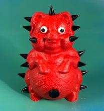 Load image into Gallery viewer, Rubber Coated Red Pig with Black Spikes