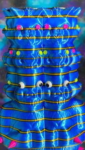 Double Pig Stack Ape: Blue with Yellow Stripes