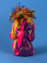 Load image into Gallery viewer, Ceramic Puppy: Yellow/Purple with Pink