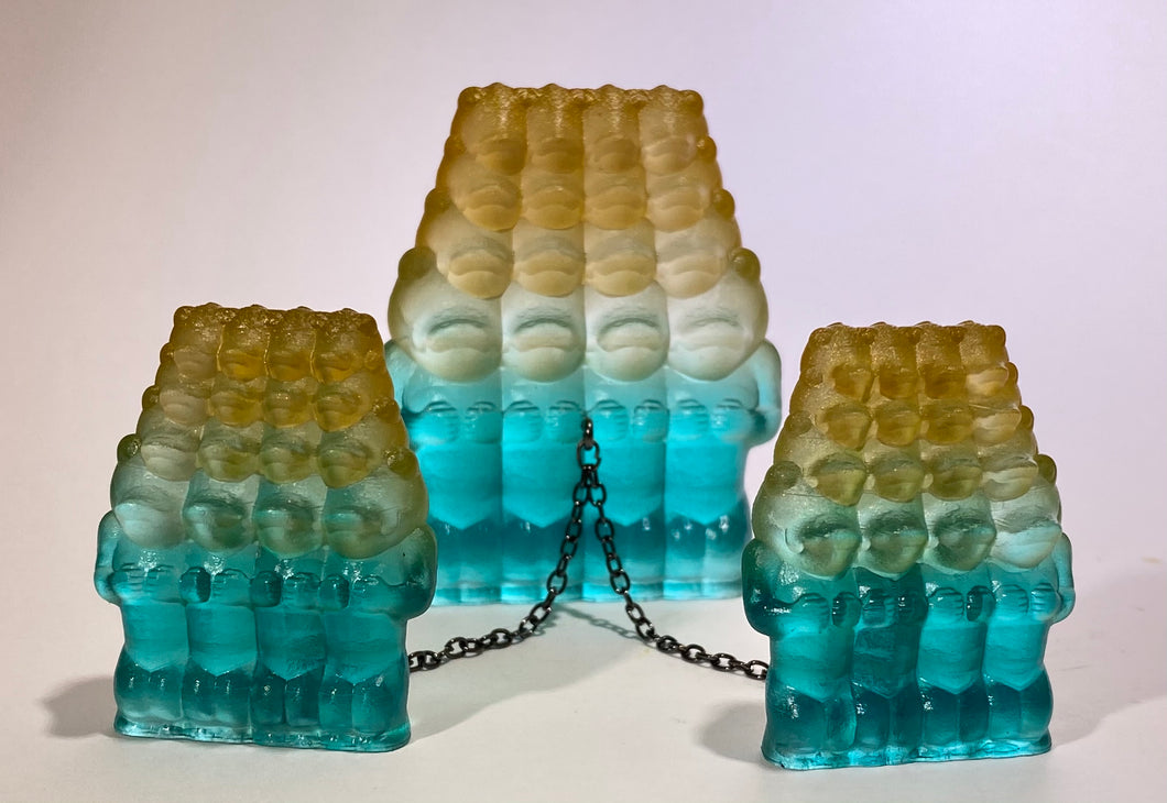 Crocodile Ape Cult, 16 Heads Set: Copper/Clear/Teal