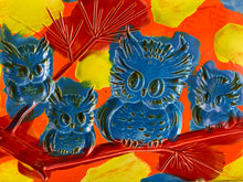 Load image into Gallery viewer, Owl Wall Plaque: Red, Blue, Green and Orange