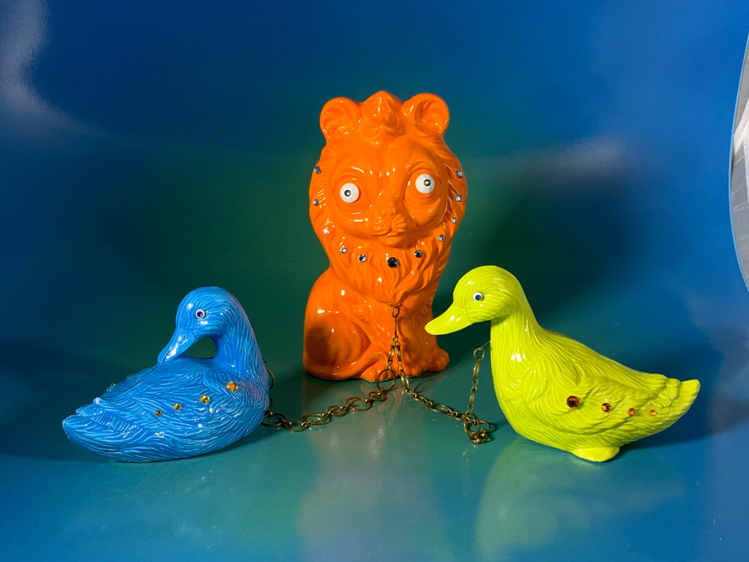 Ceramic Lion Chained to Ducks