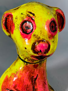 Chalkware Circle Eyes Dog: Yellow and Pink
