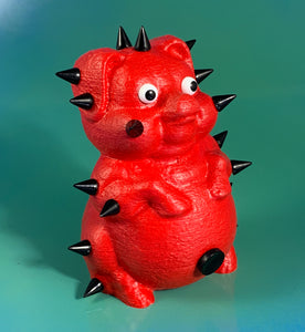 Rubber Coated Red Pig with Black Spikes
