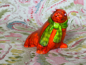 Orange Seal with Green Scarf