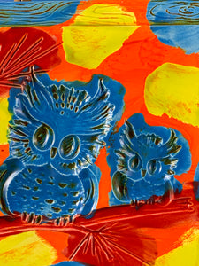 Owl Wall Plaque: Red, Blue, Green and Orange