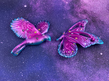 Load image into Gallery viewer, Butterfly and Bird Wall Plaques: Turquoise/Pink