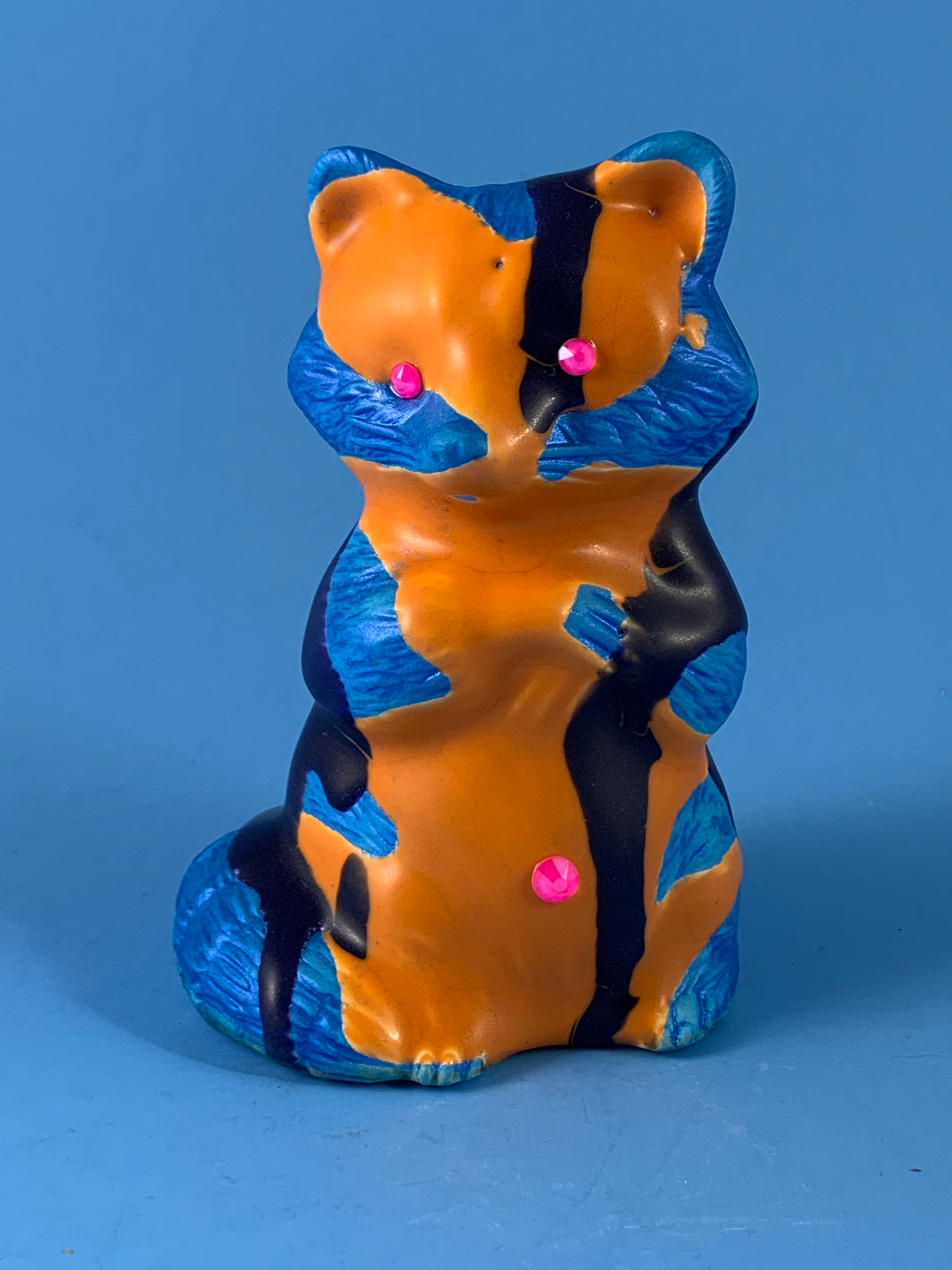 Ceramic Raccoon: Orange and Blue with Iridescent Light Blue