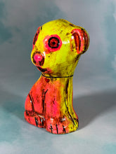 Load image into Gallery viewer, Chalkware Circle Eyes Dog: Yellow and Pink